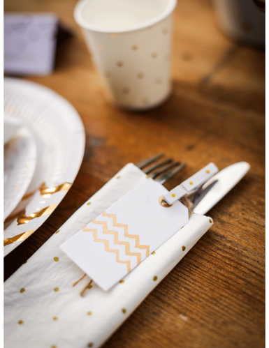 8 Etiquettes blanches chevron or-1