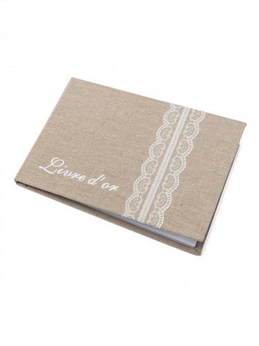 Livre d'or lin et dentelle 24 x 16,5 cm