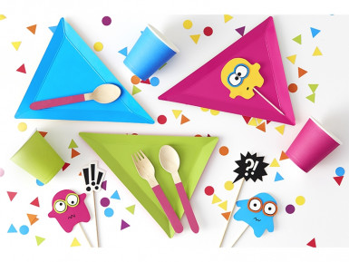 6 Assiettes triangle Petits monstres-1