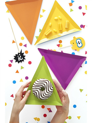 6 Assiettes triangle Petits monstres-2