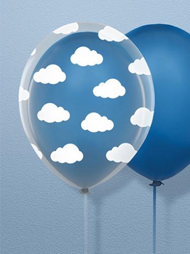 6 Ballons en latex transparents nuages blancs 30 cm-1