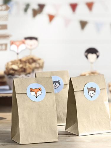 6 Sacs en papier Kraft + stickers forêt 7,5 x 18,5 cm-1