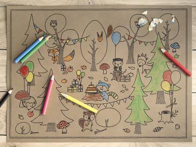 6 Coloriages avec crayons Forêt pour enfant 27,5 x 37,5 cm-1