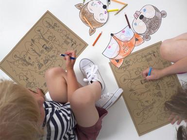 6 Masques à colorier Forêt pour enfant-1