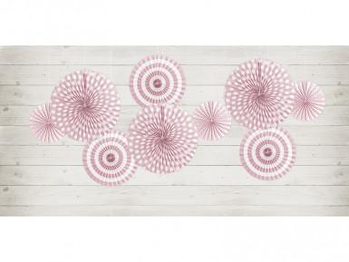 4 Rosaces en papier rose clair 23, 32 et 40 cm-1