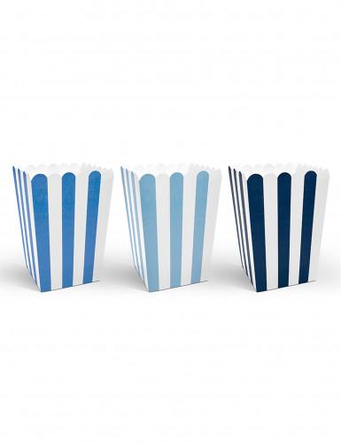 6 Boîtes à popcorn bleues 7,5 x 12 cm
