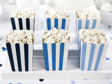 6 Boîtes à popcorn bleues 7,5 x 12 cm-1