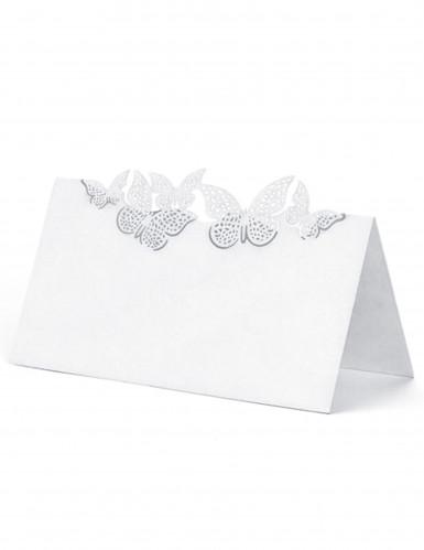 10 Marque-places en carton papillons blancs 9 x 5 cm