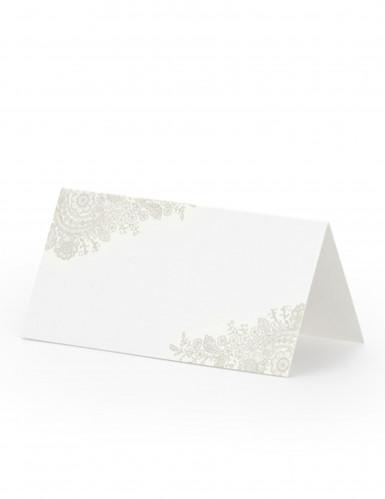 25 Marque-places en carton motifs beiges 8,5 x 4,5 cm