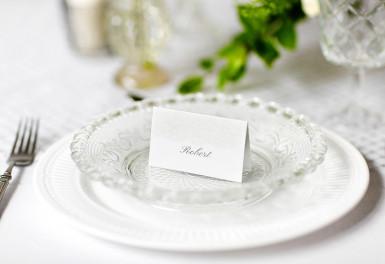 10 Marque-places en carton arabesques blancs 8 x 4,5 cm-1