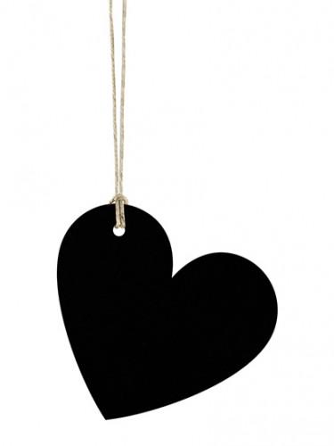 10 Étiquettes cœur noir avec cordelette 4,5 x 4 cm