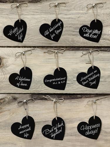 10 Étiquettes cœur noir avec cordelette 4,5 x 4 cm-1