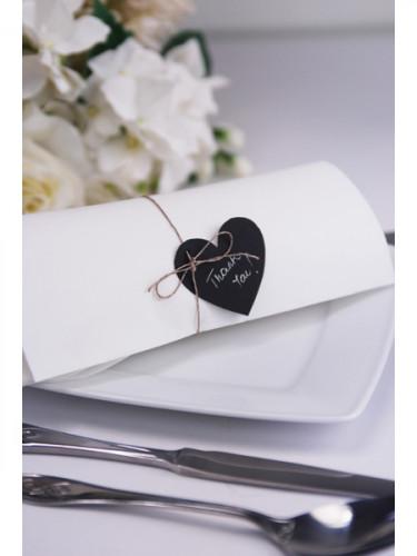 10 Étiquettes cœur noir avec cordelette 4,5 x 4 cm-2