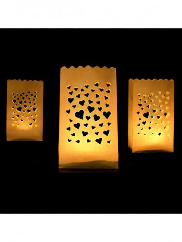 10 Lanternes en papier de sol Petits coeurs-1