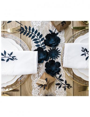 9 Décorations de table feuilles bleu marine 16 cm-1
