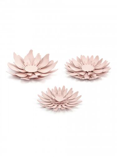 3 Fleurs en papier roses