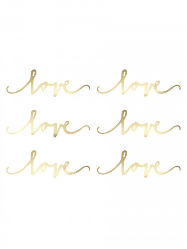 6 Décorations de table Love or 20 cm