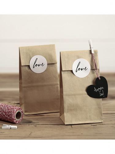 6 Sachets kraft avec stickers Love 18.5 cm-2