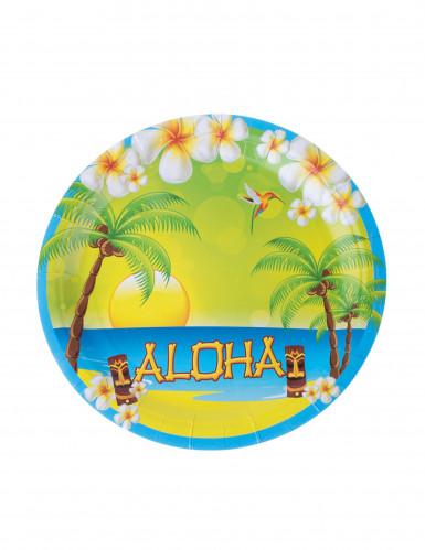 8 Assiettes en carton Aloha 23 cm