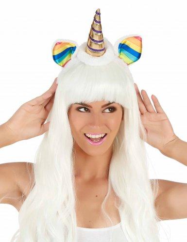 Serre-tête licorne avec oreilles multicolores adulte-1