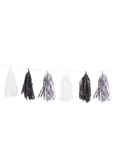 Guirlande tassel 15 pompons argent, noir et blanc 2,74 m