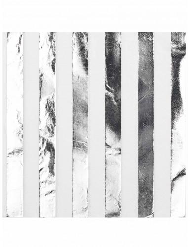 16 Serviettes en papier blanches et argentées 33 x 33 cm