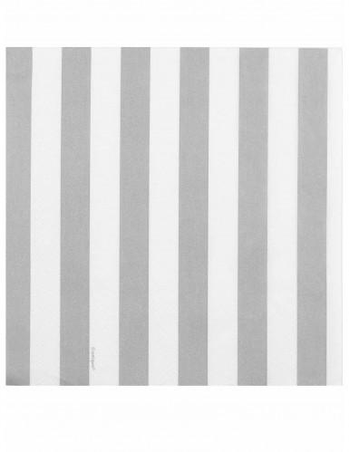 16 Serviettes en papier blanches et argentées 33 x 33 cm-1