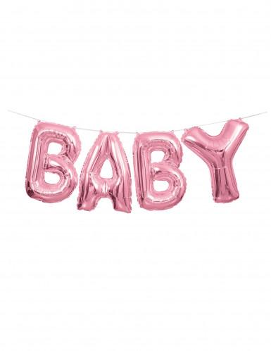 Guirlande ballon aluminium baby rose