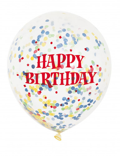 6 Ballons en latex transparent Happy Birthday avec confettis 30 cm