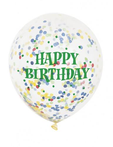 6 Ballons en latex transparent Happy Birthday avec confettis 30 cm-1