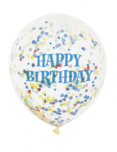 6 Ballons en latex transparent Happy Birthday avec confettis 30 cm-2