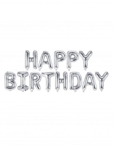 13 Ballons aluminium lettres Happy birthday argent