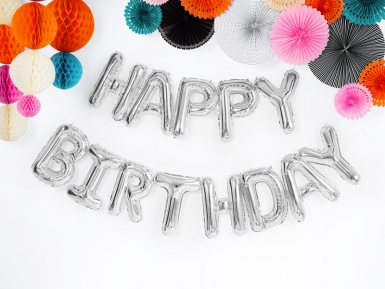 13 Ballons aluminium lettres Happy birthday argent-1