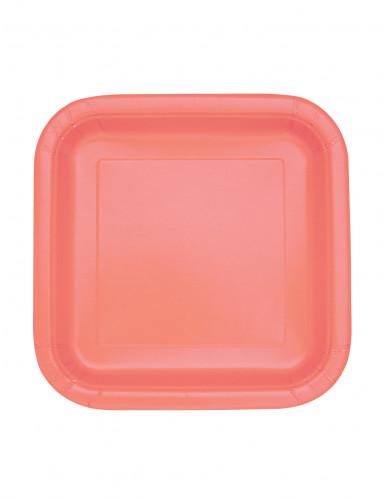 16 Petites assiettes carrées en carton corail 17,5 cm