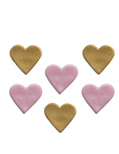 6 Coeurs en sucre pailletés roses et dorés 2.5 x 3 cm
