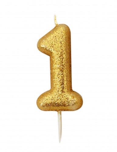Bougie chiffre 1 doré à paillettes