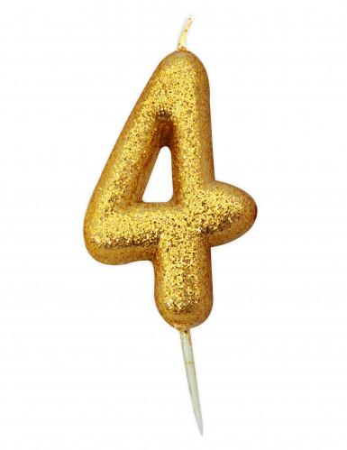 Bougie chiffre 4 doré à paillettes