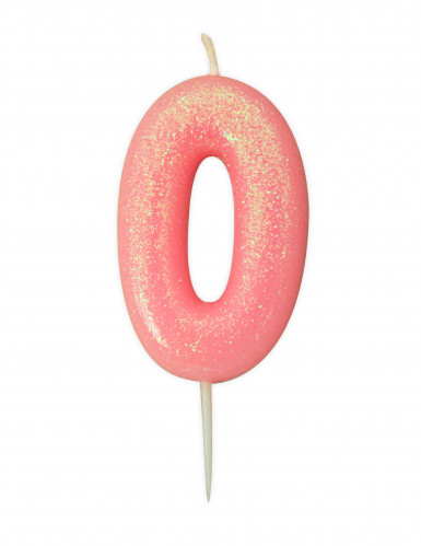 Bougie âge chiffre 0 rose irisé 9 cm