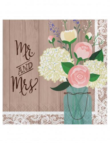 16 Serviettes en papier Mr & Mrs 33 x 33 cm