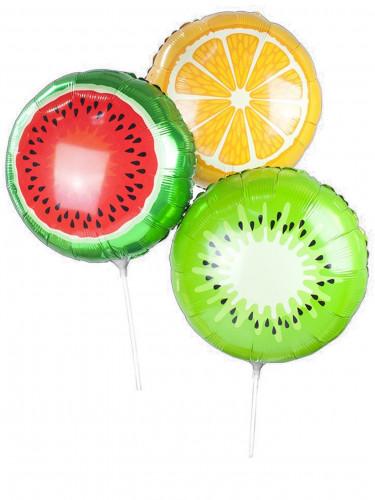 3 Ballons aluminium fruits sur tiges 35 cm