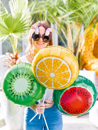 3 Ballons aluminium fruits sur tiges 35 cm-1