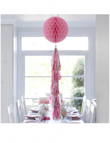 Boule en papier alvéolé rose 30 cm avec tassels-1