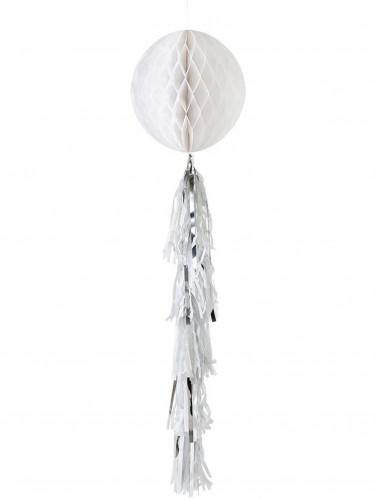 Décoration boule alvéolée blanche avec tassels