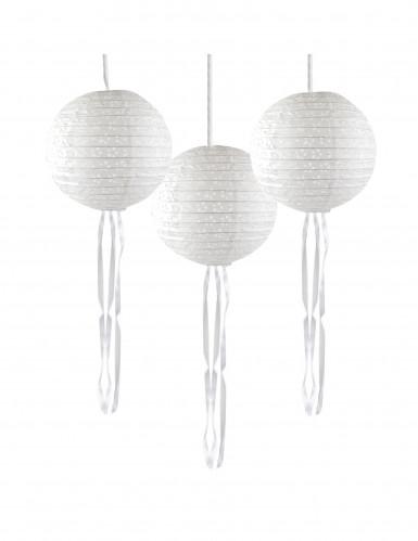 3 Lanternes japonaises papier dentelle avec rubans