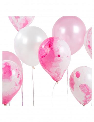 12 Ballons assortis marbrés rose et blanc