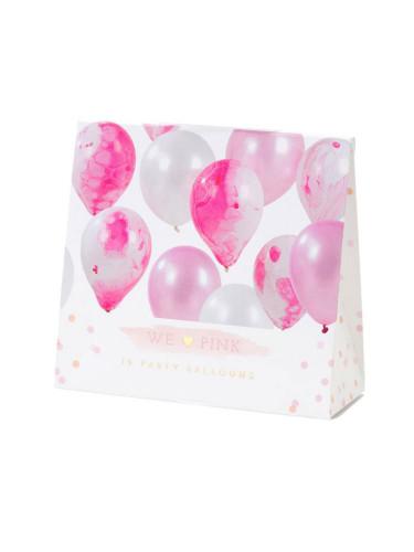 12 Ballons assortis marbrés rose et blanc-1