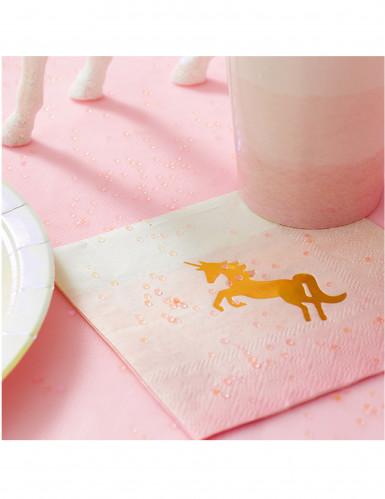 16 Petites serviettes en papier licorne 25 cm-1
