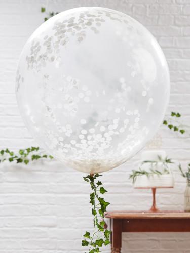 3 Ballons géants transparents avec confettis blancs 91 cm-1