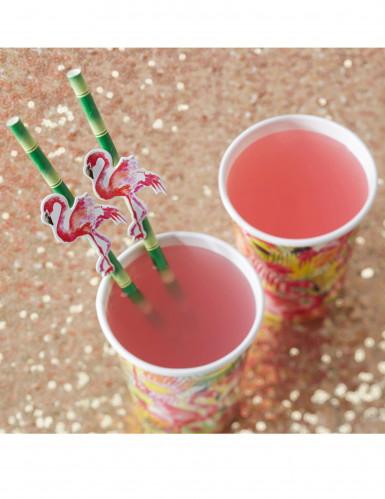 20 Pailles en carton bambou et flamants rose-1
