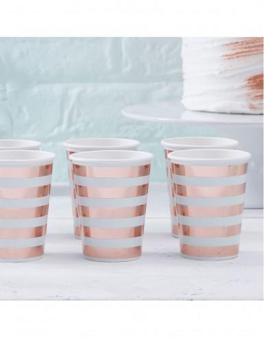 8 gobelets en carton rayés menthe et rose cuivré-1